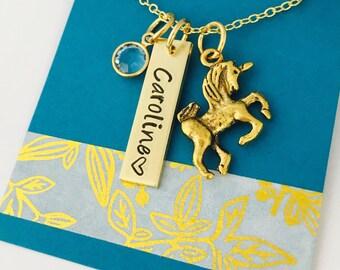 Unicorn Necklace, Personalized Unicorn Necklace , Unicorn Name Necklace, Childrens Name Necklace, Charm Necklace, Unicorn Gift