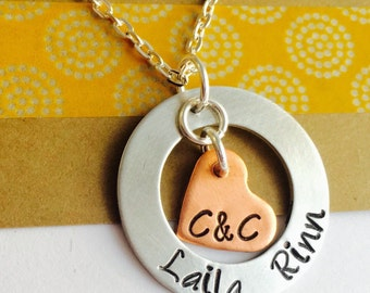 Mom Necklace, Personalized Mommy Necklace, Hand Stamped Necklace, Name Necklace,