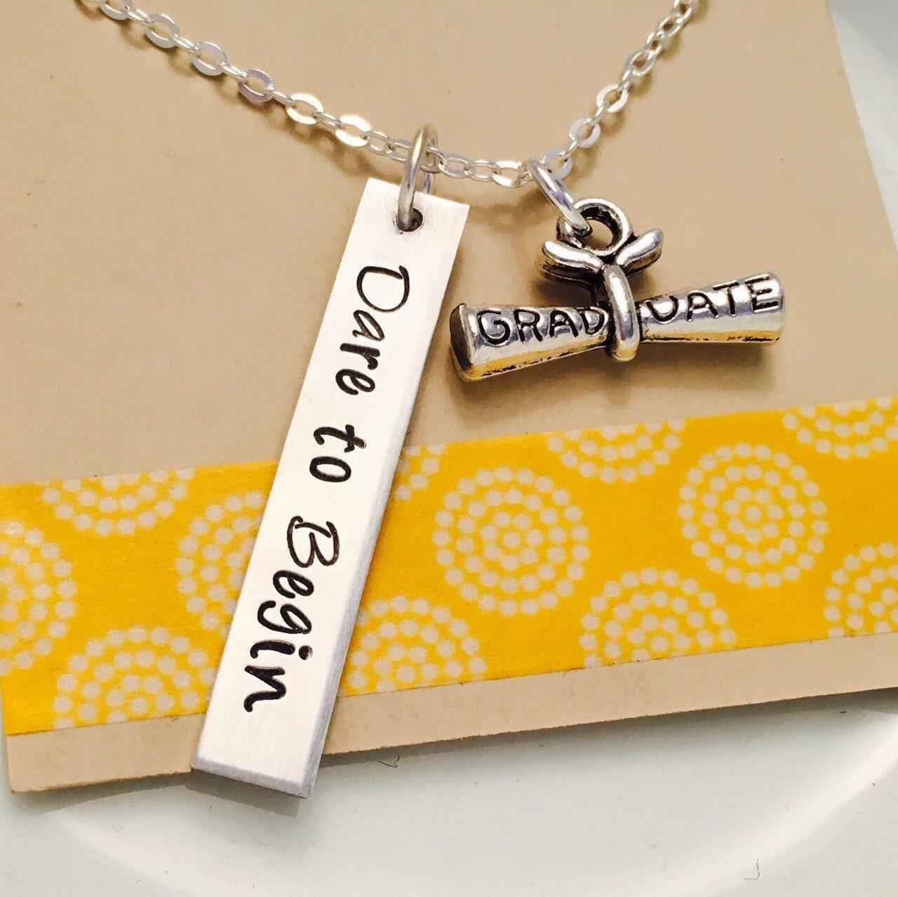 graduation necklace class of 2017 necklace hand stamped. Black Bedroom Furniture Sets. Home Design Ideas