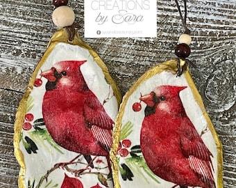 Seashell Cardinal Oyster Ornament
