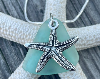 Seaglass Starfish Necklace Sea Foam