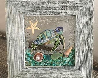 Sea Turtle Seashell Frame Mini
