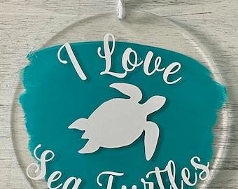I Love Sea Turtles Beach Ornament