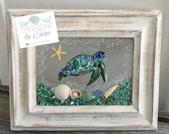 Sea Turtle Seashell Sea Glass Beach Frame