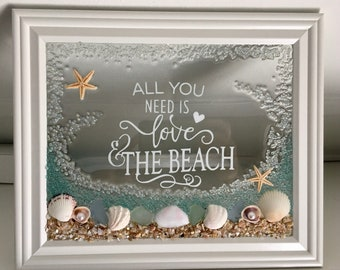 All You Need Is Love And The  Beach Seashell Frame