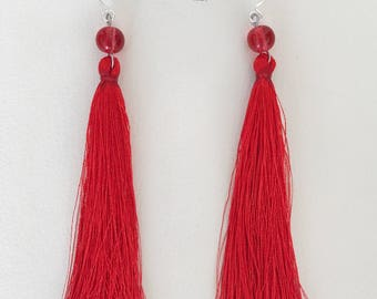 Tassel earrings, statement tassel earrings, pink tassel earrings, turquoise tassel earrings, grey tassel earrings, red tassel earrings