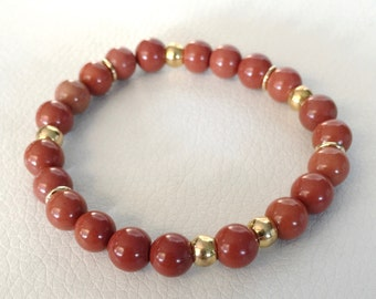 Orange and gold bracelet, red jasper beaded bracelet, fall bracelet, reddish brown beaded bracelet