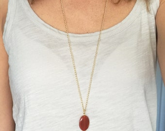 Long gem stone tassel necklace, tassel necklace with carnelian gem stone, brown tassel necklace