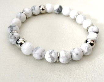 Howlite and silver stretch bracelet, grey and white bracelet