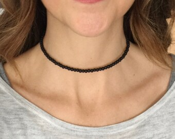 Memory wire choker necklace, memory wire choker, black choker necklace, matte black choker