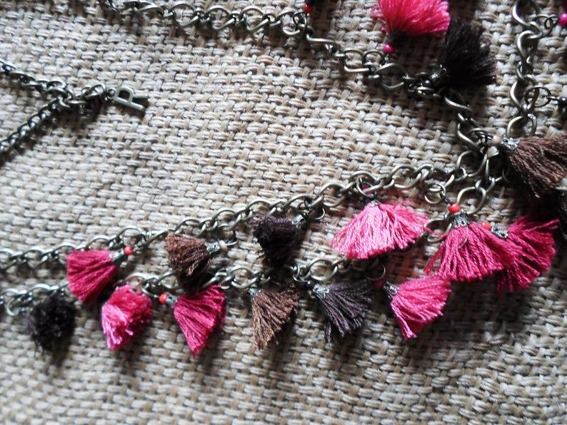 Multicolour Tassel Long Necklace in brass