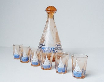 Yacht Decanter & Shot Glasses Vintage Amber Glass Retro Sailing Seaside Boating Nautical Theme 1950s Or Art Deco French