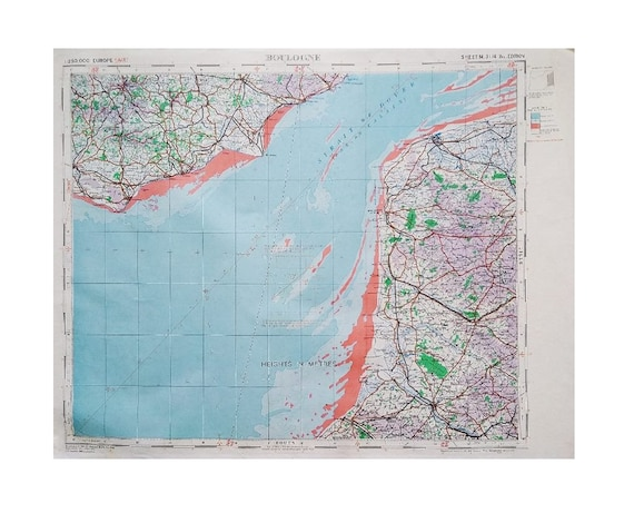 Boulogne WW2 War Office Map Large European France French Published 1942  Scale 1:250,000 Interior Decor Design Home Staging Maps Wall Art