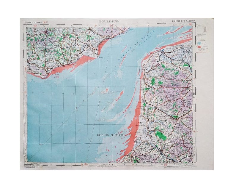 Large Scale Map Of France.Boulogne Ww2 War Office Map Large European France French Etsy