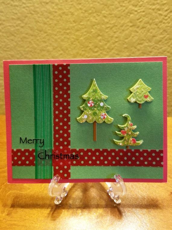 Christmas Greeting Cards Handmade.Homemade Christmas Card Handmade Christmas Card Merry Christmas Card Christmas Trees Holiday Greeting Card Christmas Greeting Card