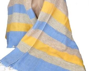 Châle laine jaune bleu à rayures cply36 12a22d3e184