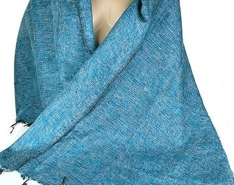 Châle ethnique laine de yack bleu paon, pashmina laine ethnique, châle en  laine, etole foulard echarpe shawl stole CPLY1 0b4a75315ff