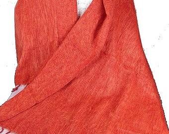 05c272699768 Châle ethnique laine de yack orange, pashmina laine ethnique etole foulard  echarpe shawl stole PLY40