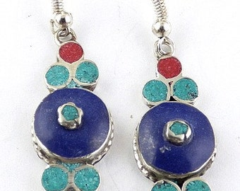 Tibetan jewelry EARRINGS traditional eyes of Buddha, ethnic jewelry nepal jewelry Buddhist abn11.1