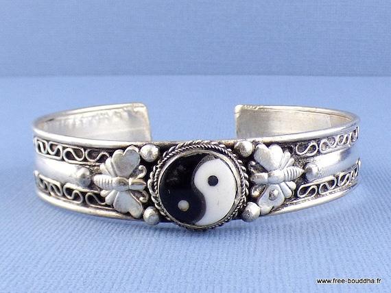 buffalo bone carved Tibetan Buddhist jewelry YING YANG BRACELET bracelet handmade ethnic ref OY11
