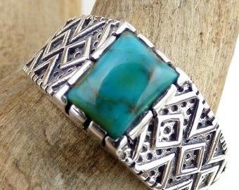 MAN ring, TURQUOISE, turquoise jewelry, natural gemstone jewelry silver kb23 throat chakra