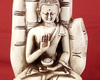STATUETTE SAKYAMUNI Buddha sitting on hand, statue Tibetan Buddhist, meditation, ref sdm