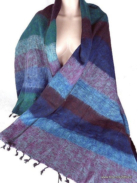8757c33d3c9c Châle en laine à rayures bleu vert pashmina laine ethnique   Etsy