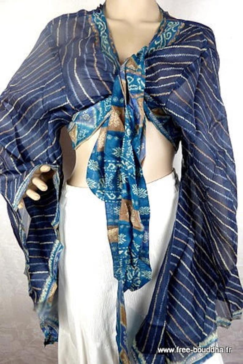 top dance top TOP large size oversize ethnic top ATP32 top wrap top hippie blue silk