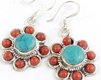 Tibetan jewelry EARRINGS traditional flower, jewelry ethnic jewelry nepal Buddhist abn6