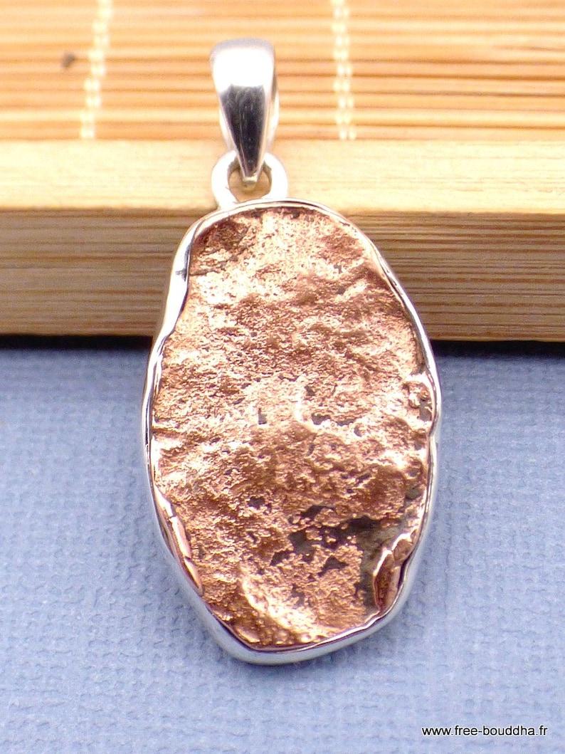 Native copper pendant oval silver 925 natural stone pendant tuv33.2
