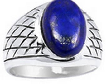LAPIS lazuli men ring, men jewelry, gemstone jewelry natural chakra throat silver KB21