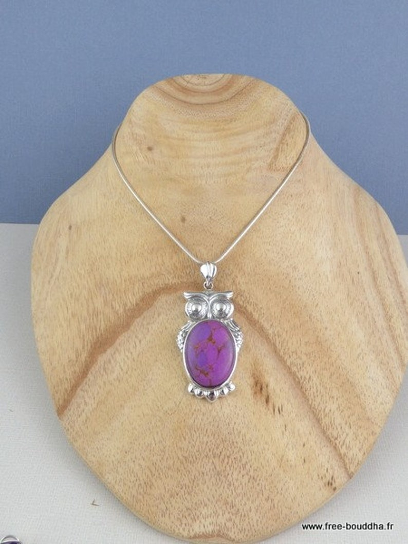 bz76.9 Owl pendant in purple mohave turquoise purple turquoise jewel