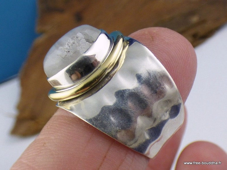 Women/'s moonstone ring two shades silver 925 size 55 rv62.10