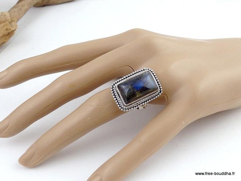 blue labradorite jewelry silver 925 av68.5 Blue Labradorite Ring T 55