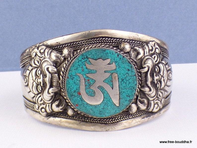 bhb50.1 BRACELET TIBETAIN OM Buddhist jewelry large natural stone bracelet