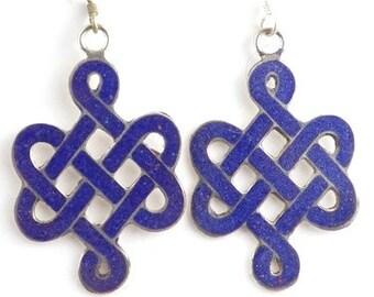 Tibetan jewelry EARRINGS traditional Buddhist endless knot ethnic nepal jewelry Buddhist abn4