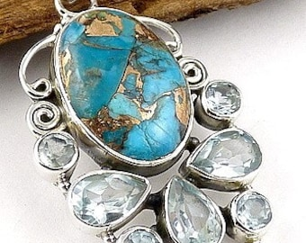 Natural turquoise, turquoise jewelry, PENDANT TURQUOISE MOHAVE Topaz pendant, chakra throat JA53