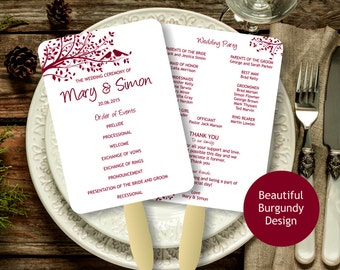 Burgundy Wedding Program Fan template, Birdie Foldable Wedding Program, Instant Download wedding program template, digital PDF,