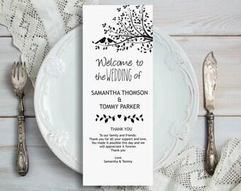 Wedding Program Template Download, Editable Text, Birds on a tree Tea length Wedding Program, Instant Download PDF template, Tealength