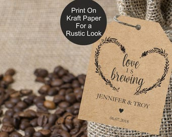 Love is brewing favor tags, 2x3 inch wedding favor tags, gift label printable template, mason jar favor label template, favor tags, editable