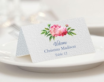 Folded Place Cards Template, Peony Place Cards, Place Cards Navy, Place Cards Wedding