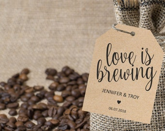 Love is brewing tag, wedding favor tags, gift label printable template, wedding favor label template, favor tags, instant PDF, editable text
