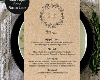 Wedding Menu Template, Rustic Kraft Classic Wreath Wedding Menu, wedding menu template, digital PDF, vintage wedding menu, DIY