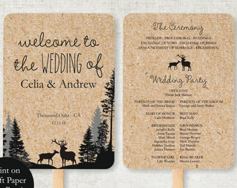 Wedding Program Template, Rustic Deers Foldable Wedding Program, Vintage Instant Download wedding program template fall winter wedding