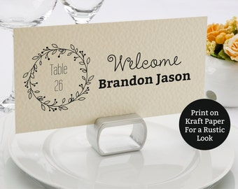 Wedding placecards template, Classic Wreath flat escord carts, Name cards printable, Instant Download, Editable text