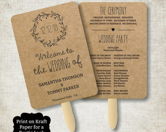 Wedding Program Fan template, Rustic Kraft Classic Wreath Foldable Wedding Program, Instant Download wedding program template