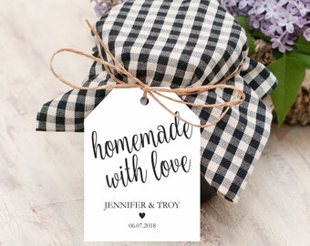 Homemade with love tags, wedding favor tags, gift label printable template, wedding favor label template, favor tags