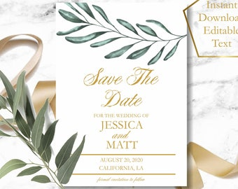 Save the Date Template, Greenery Save the Date Card, Olive Branch Save The Date Card Printable, Faux Gold Save The Date Printable Template