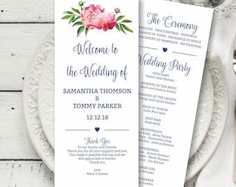 Navy Wedding Program Template Download, Boho Floral Wedding Card, Pink Peony Wedding Program printable, Tealength wedding program