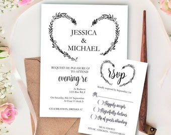Evening Reception invitation with rsvp printable template, Heart Wreath Wedding Invite printable, Digital PDF diy simple wedding invitations
